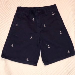 Janie and Jack Navy Anchor Embroidered Shorts